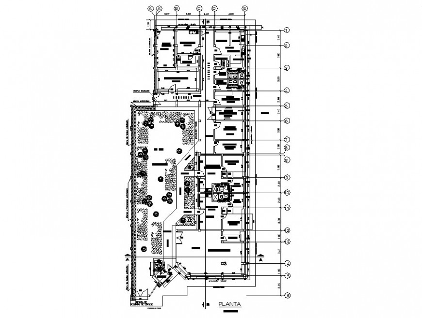 General hospital architecture distribution plan cad drawing details dwg file