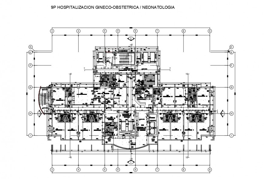 General hospital architecture layout plan cad drawing details dwg file