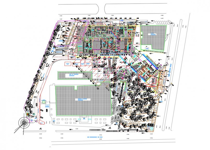 General hospital building architecture layout plan details dwg file