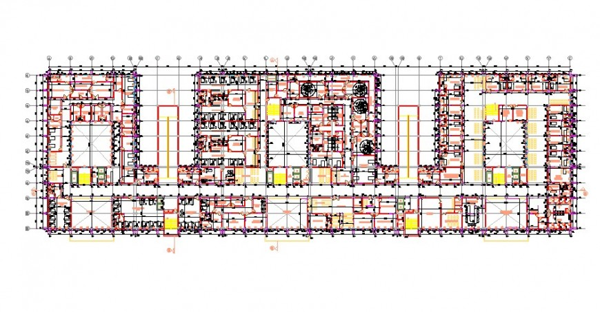 General hospital building first floor layout plan cad drawing details dwg file