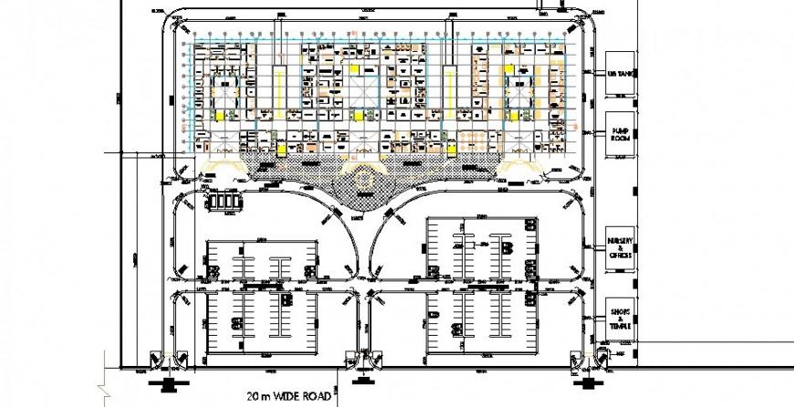 General hospital building site layout plan cad drawing details dwg file