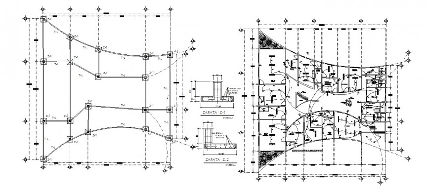 General hospital floor foundation plan and electrical layout cad drawing details dwg file