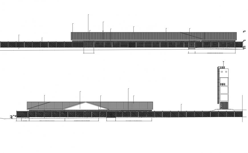 General hospital front and back elevation cad drawing details dwg file