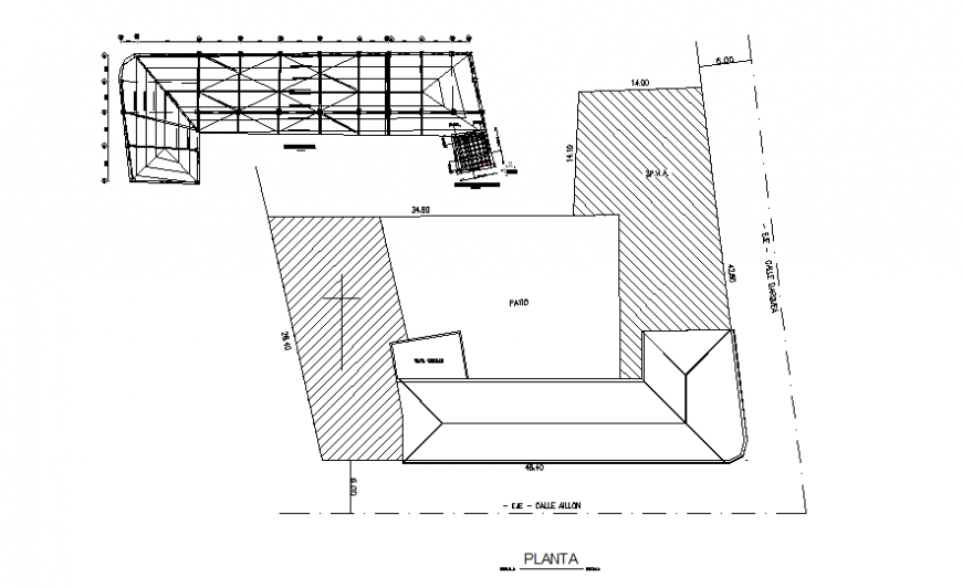 General layout plan and cover plant details of one family house dwg file