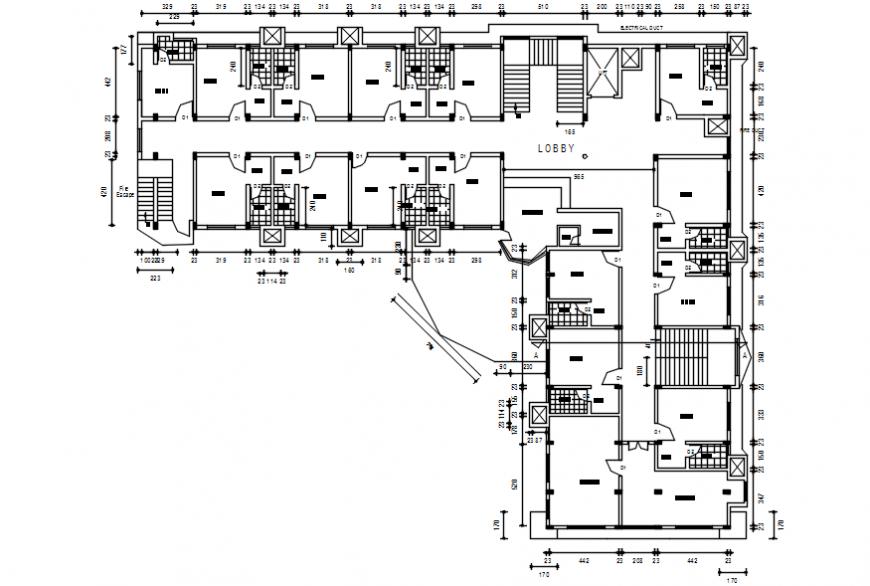 General multi-level hospital building Second floor plan cad drawing details