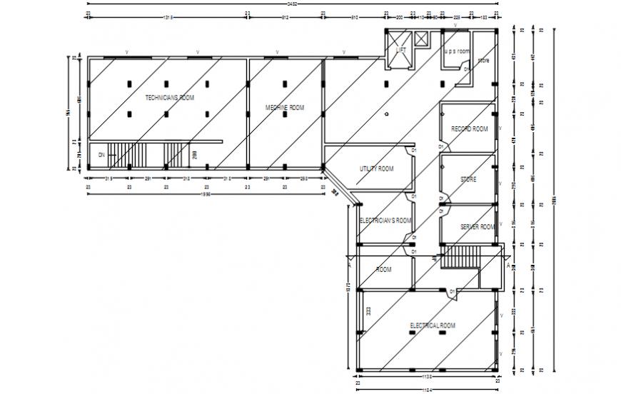 General multi-level hospital building Top floor plan cad drawing details dwg file