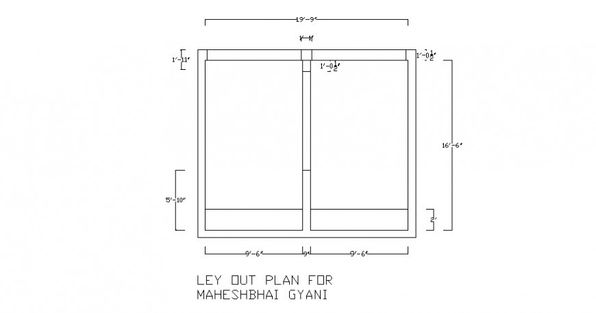 General plan for one family house cad drawing details dwg file
