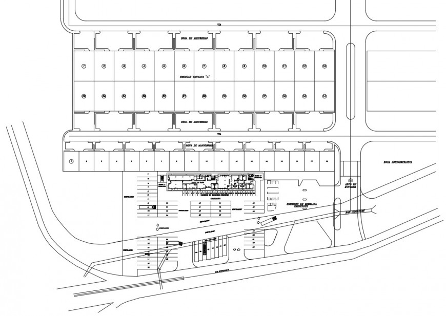 General plan of hotel in auto cad software