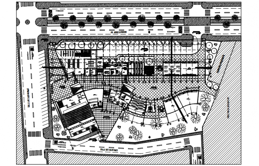 General planimetry drawing details of education building dwg file