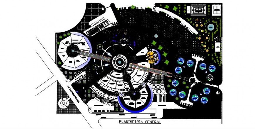 General planimetry drawing details of multi-function culture center dwg file