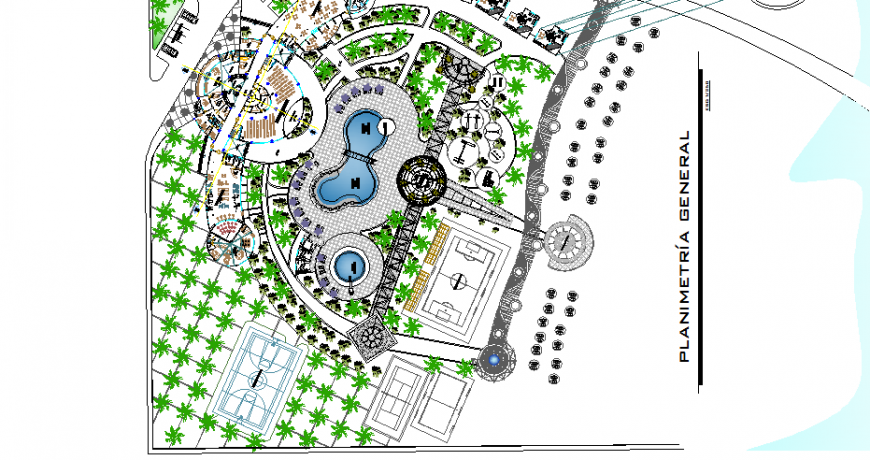 General planimetry with landscaping structure details of five star hotel dwg file