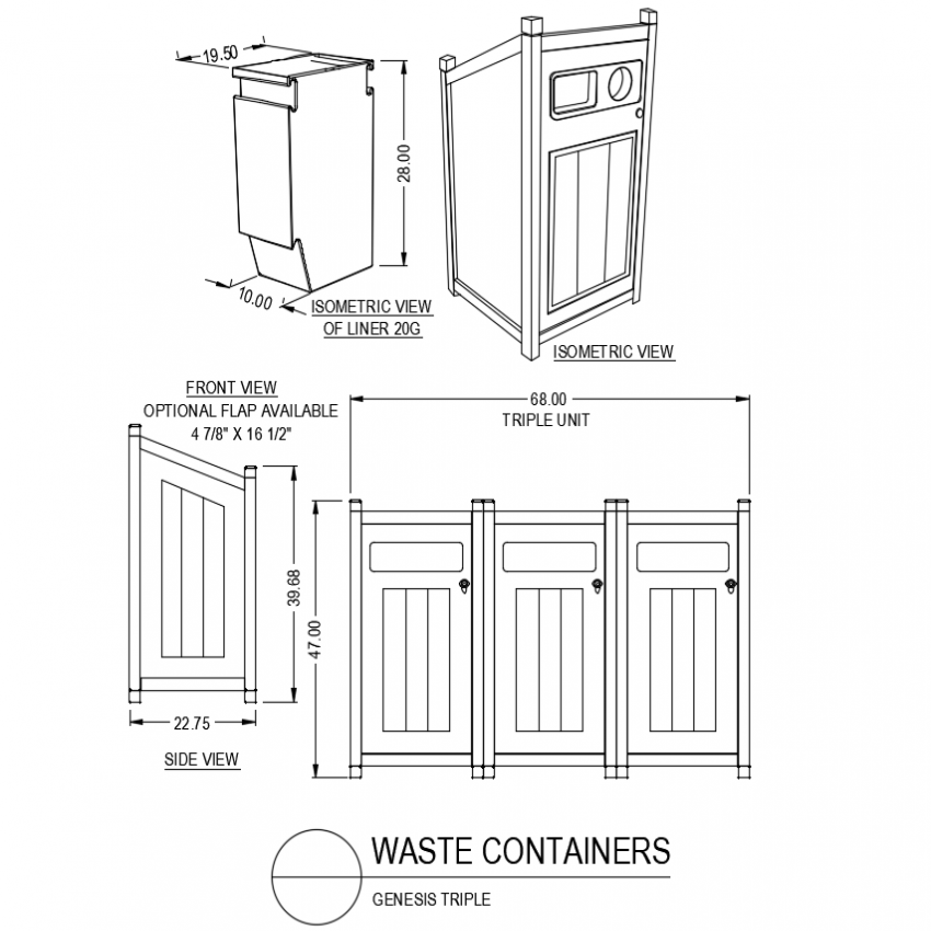 Genesis triple waste container with front and side view with isometric view dwg file