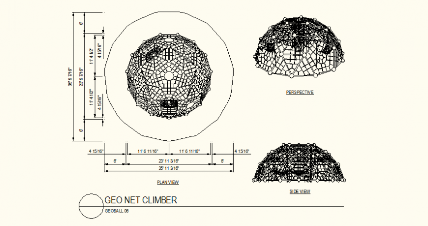 Geo net climber detail plan and side elevation dwg file