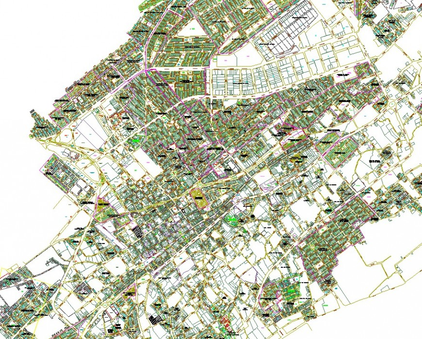 Geographical and urban city map in dwg file.