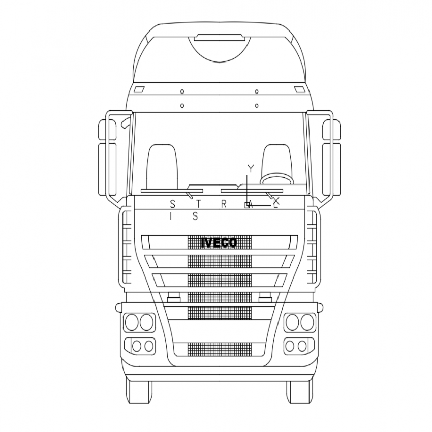 Giant truck front view cad block design dwg file