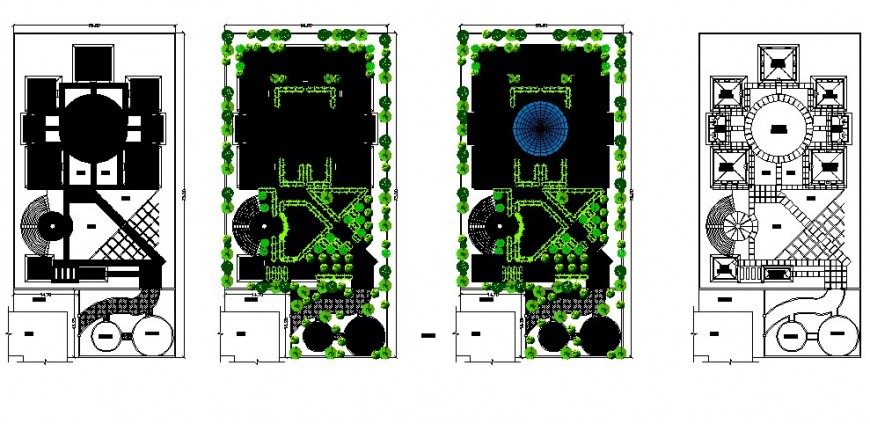 Gild blossom garden layout plan and landscaping structure details dwg file