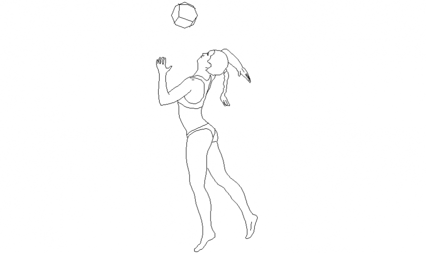 Girl playing ball with modern dress block with people dwg file