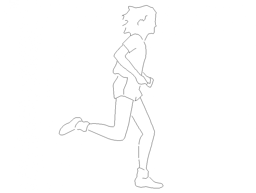 Girl running people act block cad drawing details dwg file