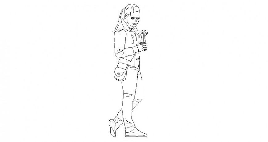 Girl with water bottle looking at the ground vector persons cad block details dwg file