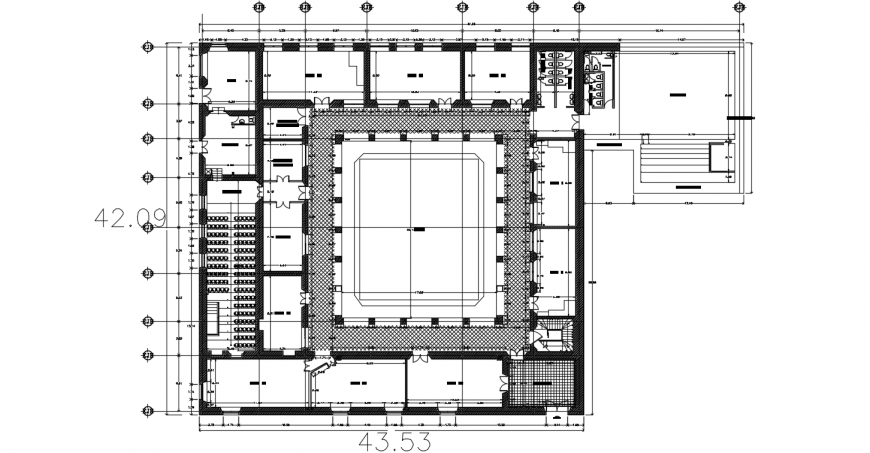 Girls school distribution plan with furniture drawing details dwg file