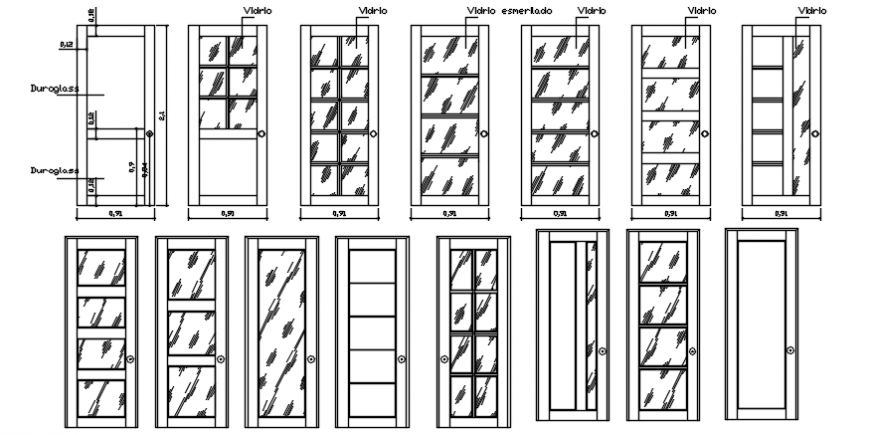 Glass door different block design in AutoCAD file