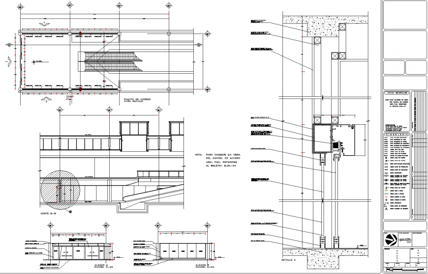 Glass panel detail in hall with stairs drawing in dwg file.