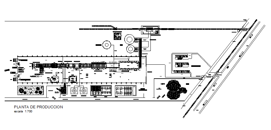 Glass production industrial plant architecture layout plan details dwg file