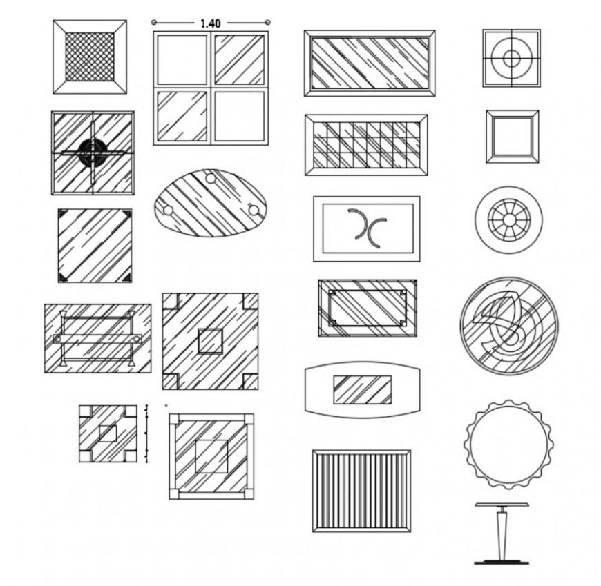 Glass window panel interior symbols 2d view Autocad file