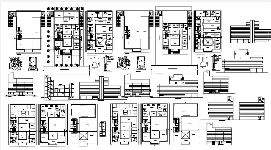 Global hospital elevations, sections and floor plan distribution plan details dwg file