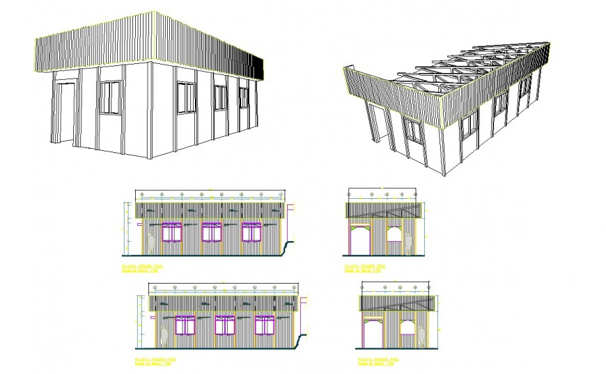 Godown single story building detail elevation 2d view CAD construction unit autocad file