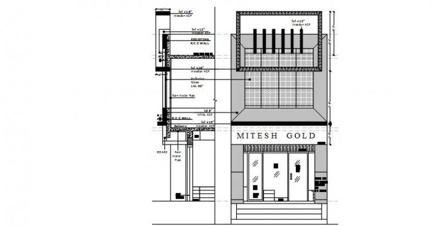 Gold shop store elevation and constructive section drawing details dwg file