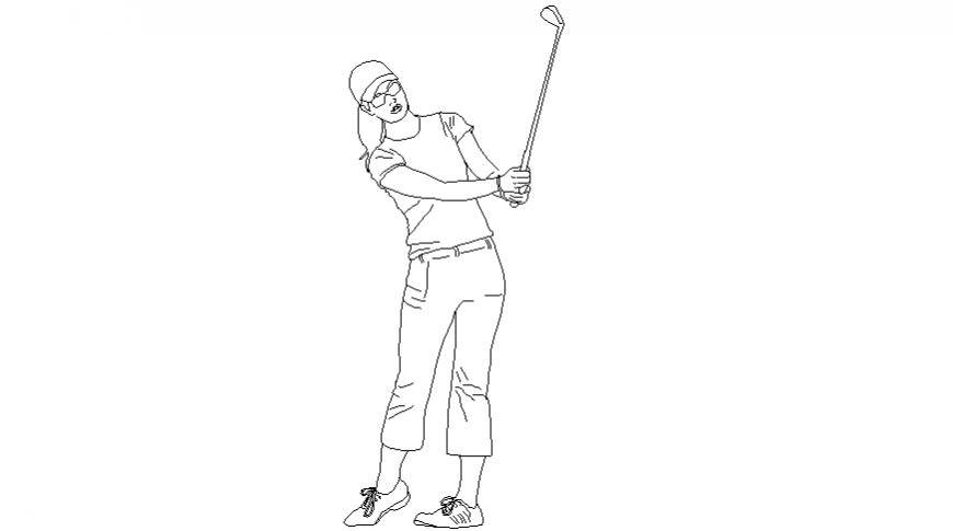 Golfer or snooker women block of people in AutoCAD dwg file