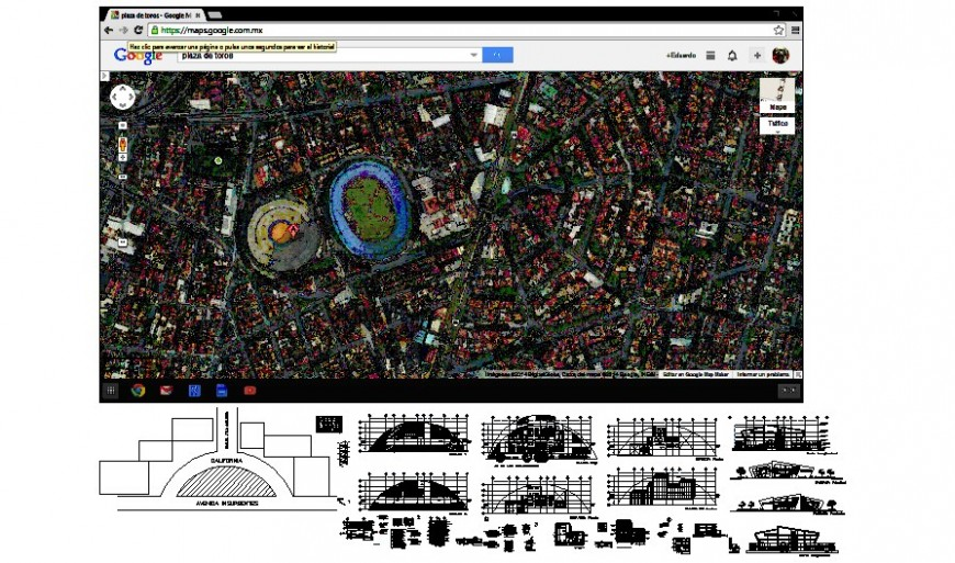 Google mapping details are also along with building drawings 2d view autocad file