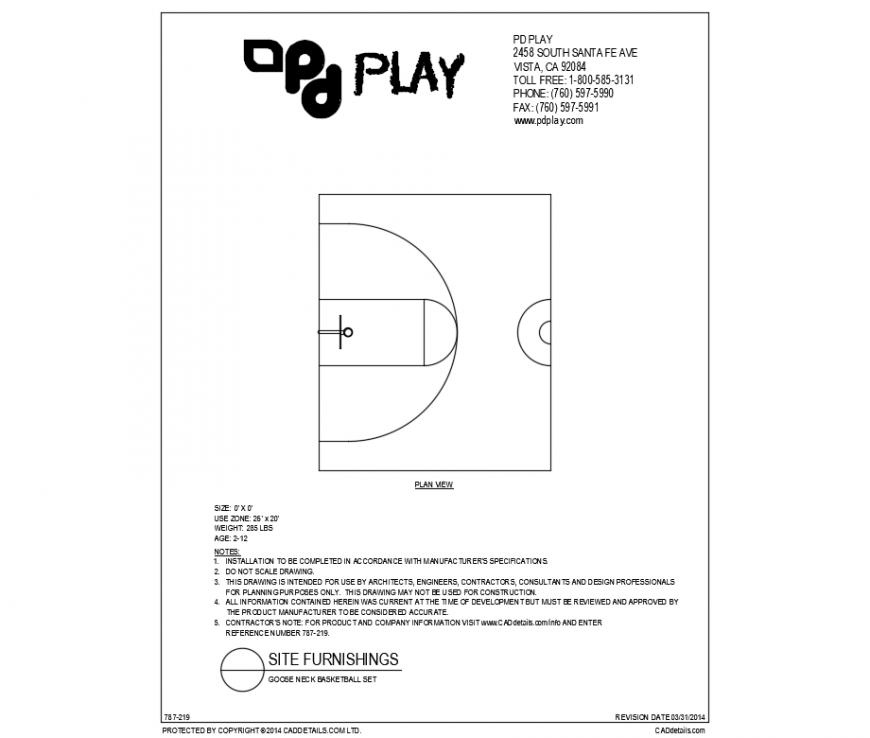 Goose neck basket ball set play equipment details dwg file