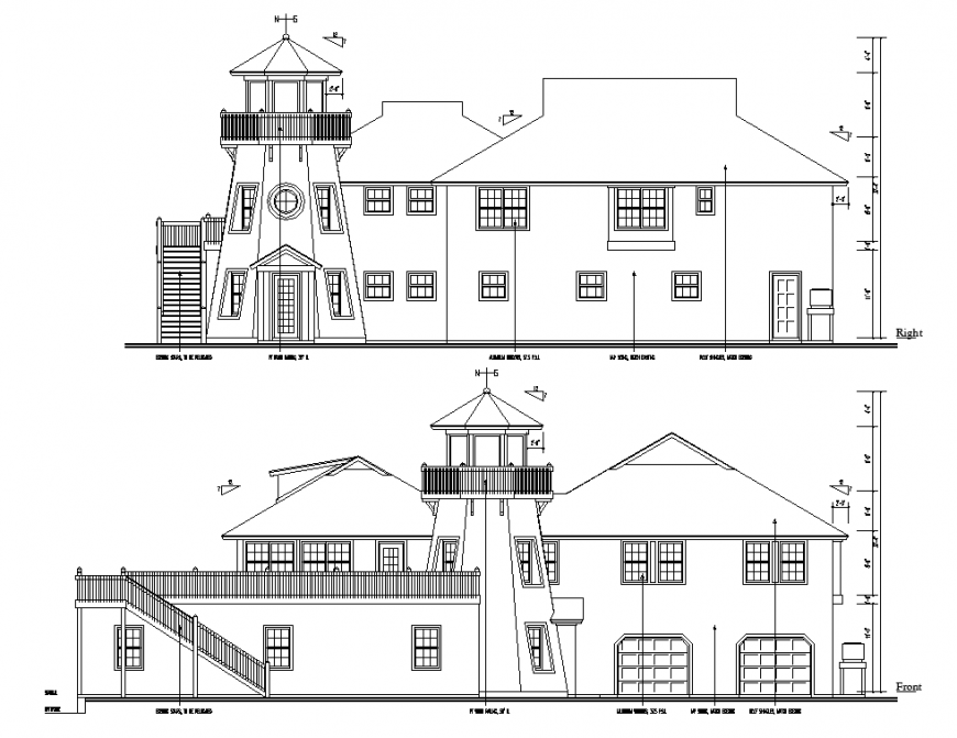 Gothic structure house exterior elevation in dwg AutoCAD file.