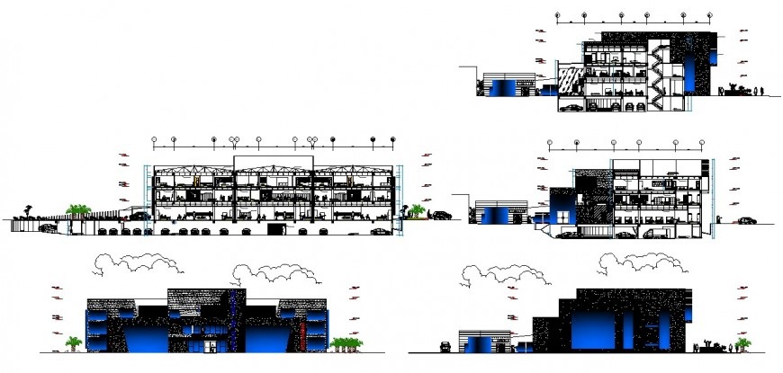 Government bank head office all sided elevation and section drawing details dwg file