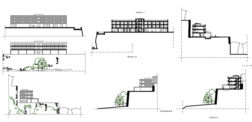Government building elevation drawing in dwg AutoCAD file.