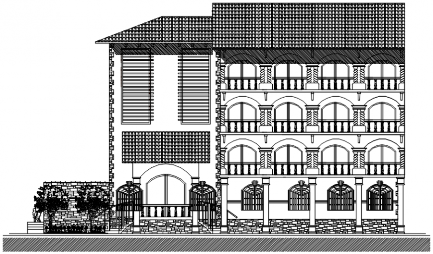 Government building front elevation in AutoCAD file