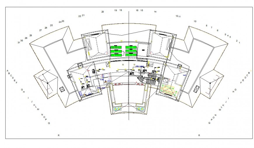 Government building roof detail drawing in dwg AutoCAD file.