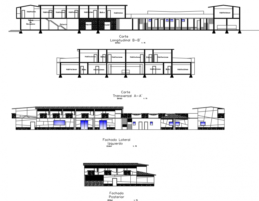 Government hostel elevation drawing in dwg AutoCAD file.