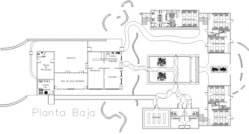 Government hostel layout plan drawing in dwg AutoCAD file.