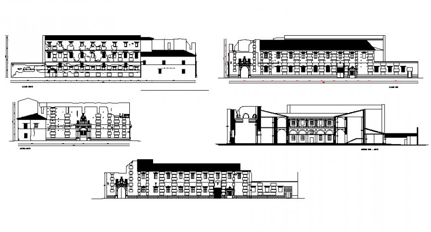 Government museum building all sided elevation and section details dwg file