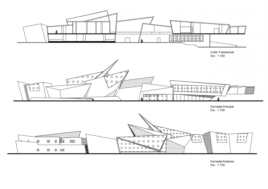 Government museum main and back elevation and main section drawing details dwg file