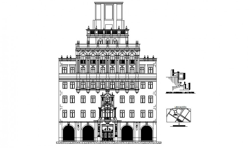 Government palace elevation detail drawing in dwg AutoCAD file.