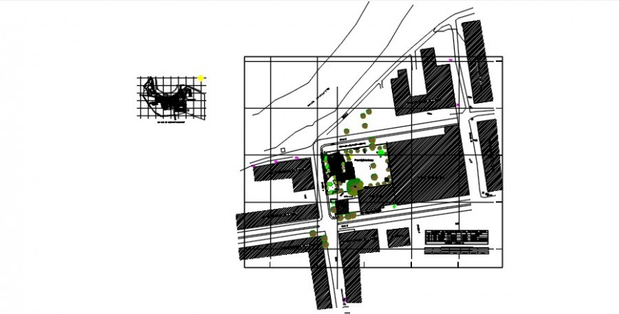Government police station distribution plan and landscaping structure details dwg file