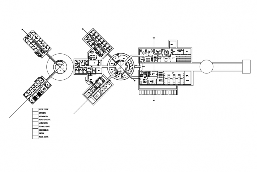 Government research center building architecture layout plan details dwg file