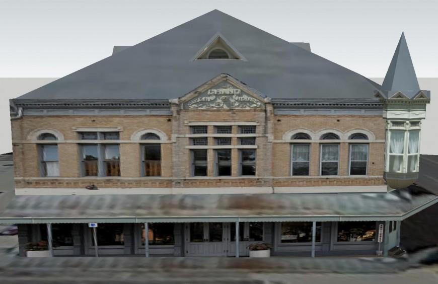 Grand opera house frontal elevation 3d model cad drawing details skp file