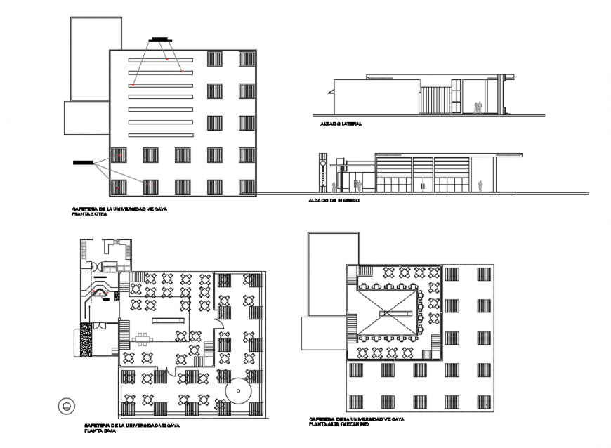 Grape coffee shop with restaurant elevation, section and layout plan details dwg file