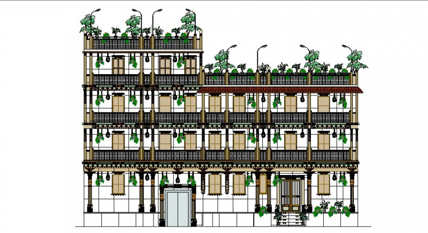 Green building hotel detail elevation drawing in dwg AutoCAD file.