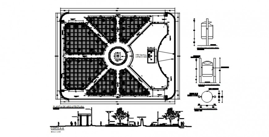 Green plaza park section and landscaping structure drawing details dwg file